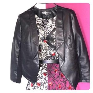 Black faux leather crop jacket
